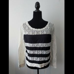 Black and White Striped Lace Blouse Juniors